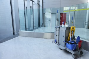Cleaning-cart-in-office-building1-300x200